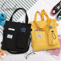 Qiaoduo Simple Women Package Print Cute Bear Canvas Bag Handbag Japanese Literary Shoulder Bag Casual Shopping Girl Crossbody
