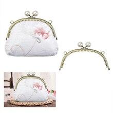 4 style Pearl Flower Pattern Wallet Metal Handle Arc Shaped DIY Clutch Purse Bag Kiss Clasp Lock Handbag Hardware Accessories