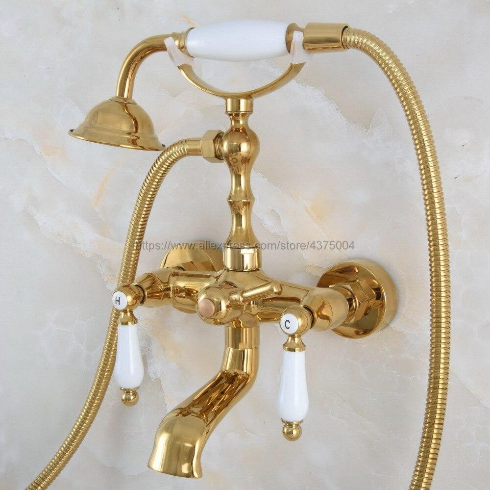 حنفية حمام مثبتة على الحائط ، حنفية حمام نحاسية عتيقة بمقبض مزدوج ، Nna857