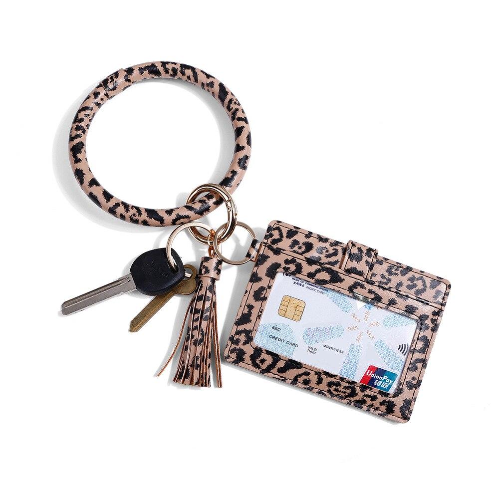 2021 New Hot Sell Keychain Bag for Women Men Leopard O Wallet PU Leather Tassel Card Bag Snake Brace