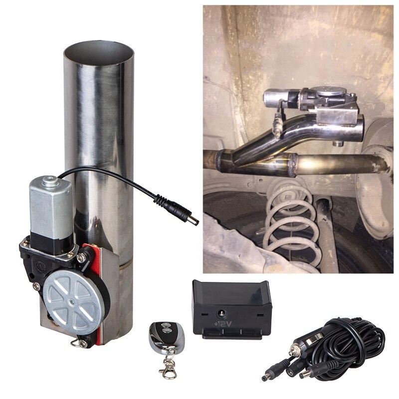 "2.0 ""elétrico i tubo de escape downpipe recorte e recorte kit sistema de válvula + remoto exhaust stainless steel exhaust tipsteel anklet -"