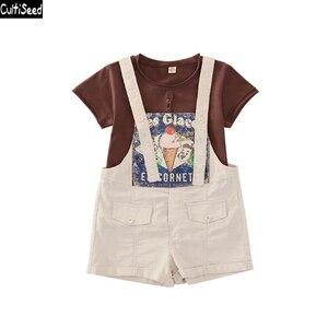 Cultiseed Big Girl Sets Suit  New Summer Girls Short T-Shirt + Rompr 2pc Set Suits Kids Casual Sets Children Fashion Sets
