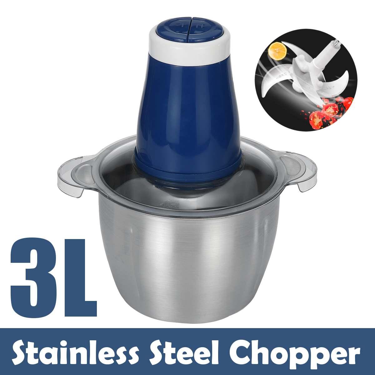 Dois velocidade 220 v aço inoxidável moedor de carne 3l moedor de carne de aço inoxidável chopper elétrico automático máquina picar azul