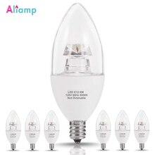 E12 LED bougie ampoule 60 watts équivalent 6W lumière du jour blanc 5000K lumière Non réglable pour intérieur décoratif éclairage lampe 6Pack