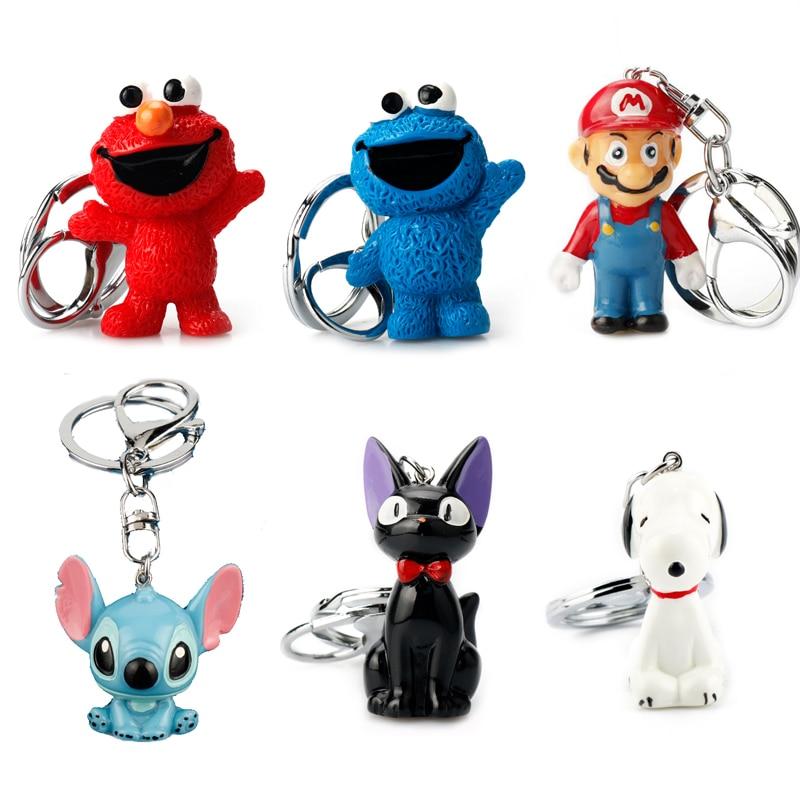 Cartoon Sesame Street Keychain Cat PVC Key Chain Super Mario Stitch Cookie Monster ELMO Doll Toys Bag Keyring for Children Fans