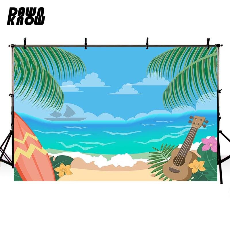 Fondo de fotografía de vinilo de playa de daynknow para sesión de fotos de guitarra de dibujos animados de bebé para estudio de fotos de boda lv506