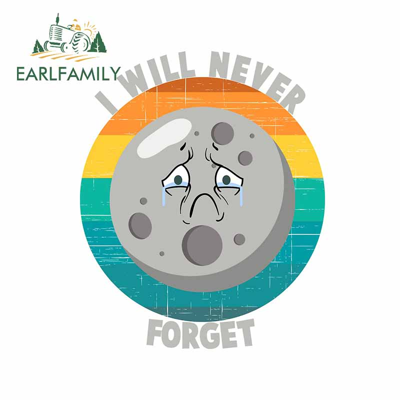 EARLFAMILY 13cm x 10.5cm for I Will Never Forget Sad Pluto RV Decal Occlusion Scratch Car Stickers Motorcycle Windows Decoration