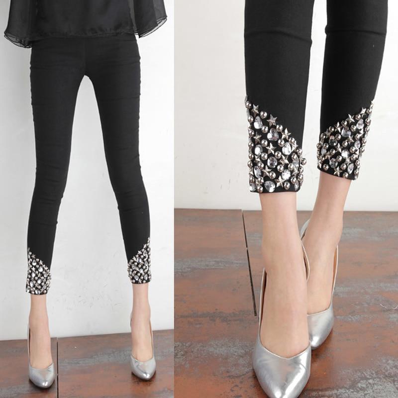 2020 Summer New Cool Black Hand-Stitched Rhinestone Pants All-match Large Size Wear Leggings Thin Women's Pants Black Leggings