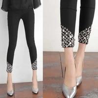 2020 summer new cool black hand stitched rhinestone pants all match large size wear leggings thin womens pants black leggings