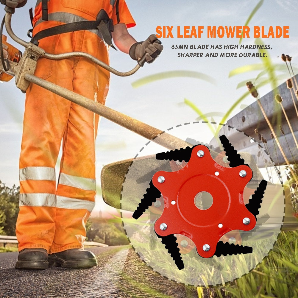 6 Teeth Cutter Head Grass Trimmer Brush Blade 65Mn Trimmer Head For Lawn Mower Cutting Head Garden Power Tool Accessories