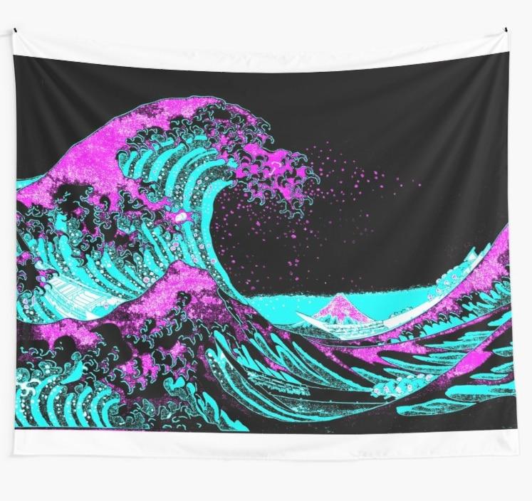Vapourwaves japonês arte digital tapeçaria boho mandala tapeçarias bruxaria tapeçaria de parede impressão hippie parede pendurado cobertor