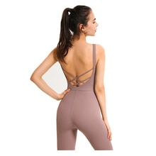 2021 European and American sexy deep u back one-piece Yoga suit women's running sports fitness dance