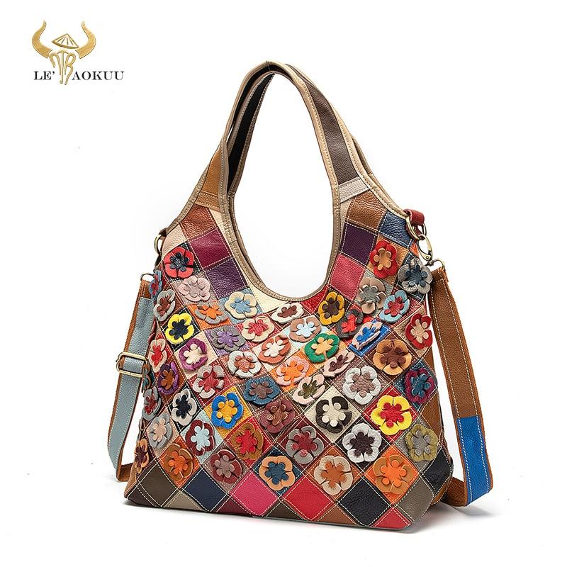 Multi-Color Genuine Leather Famous Luxury Ladies Patchwork Large Shopper Handbag Shoulder bag Women