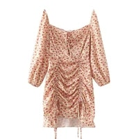 women romantic red floral straight tea dresses spring summer shirring design bishop sleeve slash neck holiday one piece dress