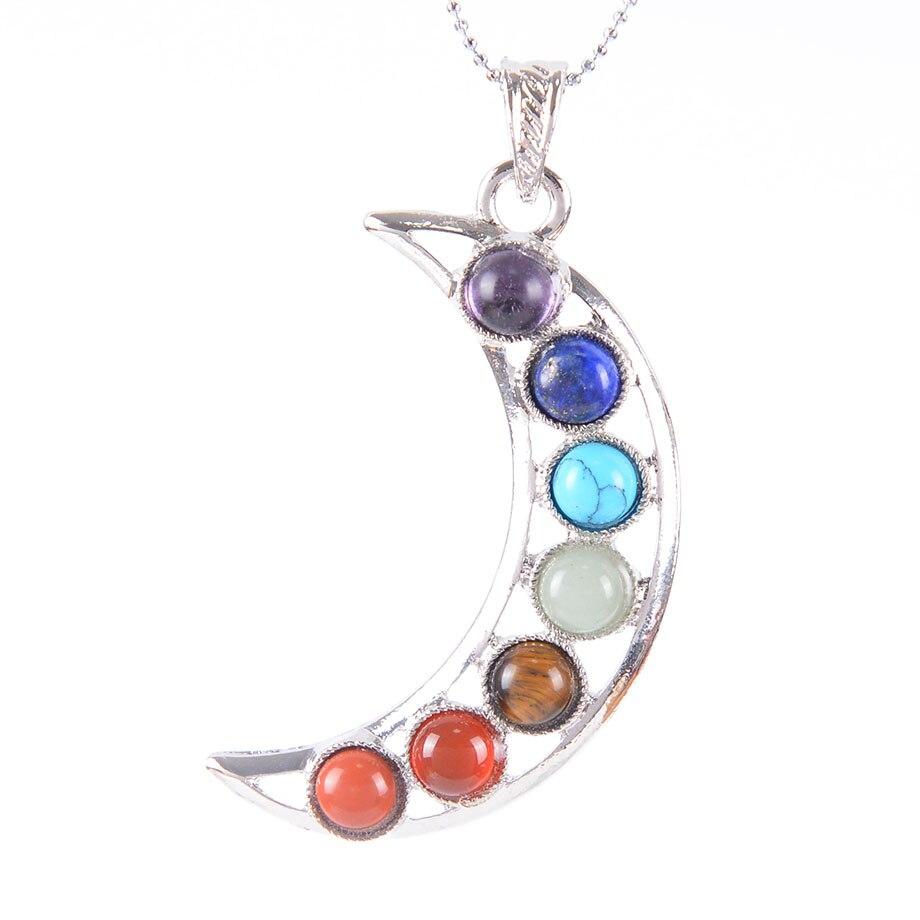 Chakras Piedra Natural Ángel colgante alas cho ku rei amuleto para la salud moda 7 Reiki Yoga joyería collar colgantes regalo D716