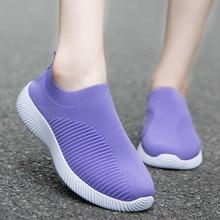 Women Flats Shoes Loafers Plus Size 43 Walking Flat High Quality Women Sneakers Slip On Black Purple