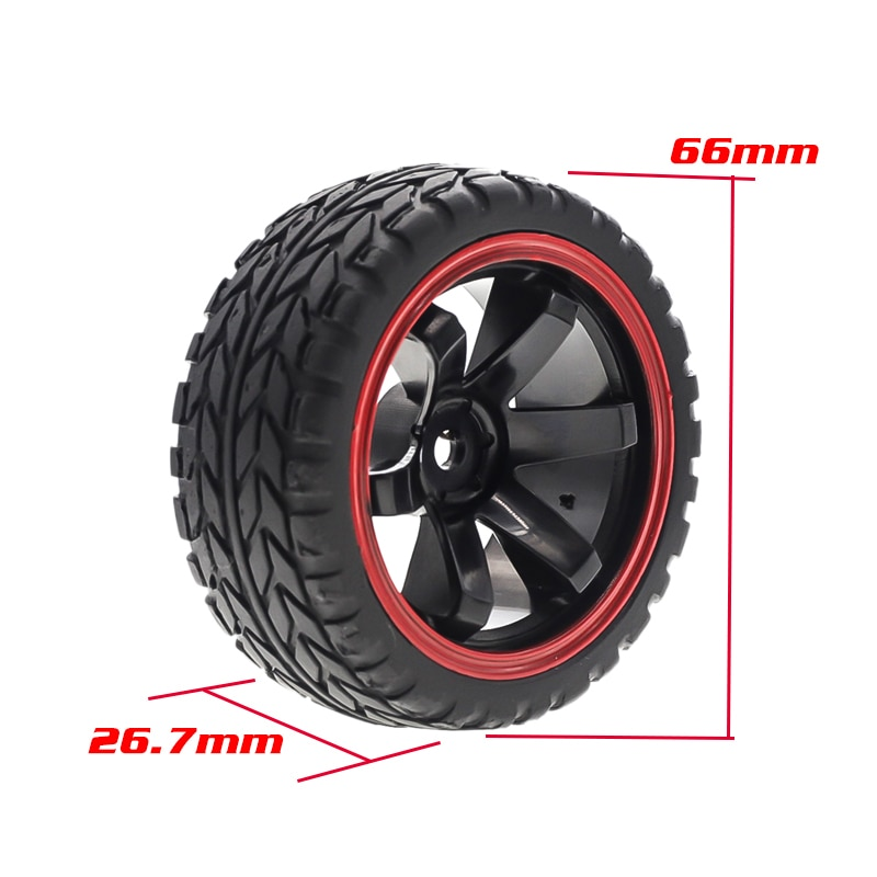 RS-RC 26mm Rubber RC Tyres & Wheel Rims Hex 12mm For 1:10th HSP HPI Sprint 2 Drift RS4 On Road Cars enlarge
