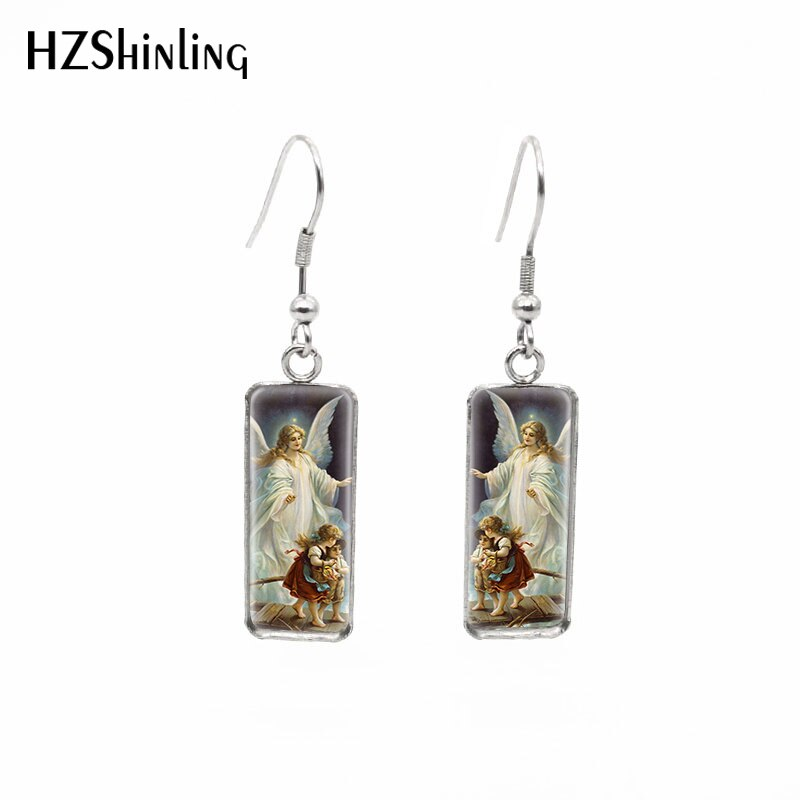 2020 New Holy Guardian Angel Rectangular Earring Fish Hool Earrings Glass Dome Earring Fashion Jewelry