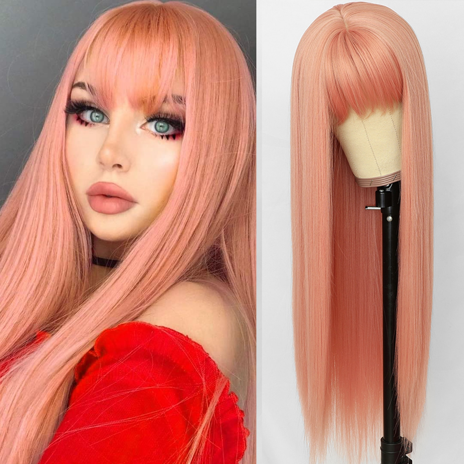 Oxeely Pink Color Long Straight Synthetic Hair Wigs with Bangs Heat Resistant Synthetic None Lace Wigs for Fashion Women