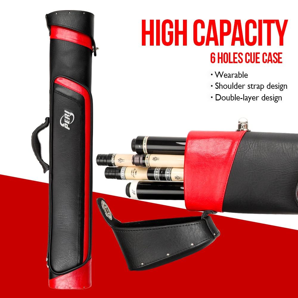 PERI Case 6 Holes 2 Butt 4 Shaft Multi-piece Rod Box PU Material Hard Cue Case Bag Convenient Portable Case Billiard Accessories