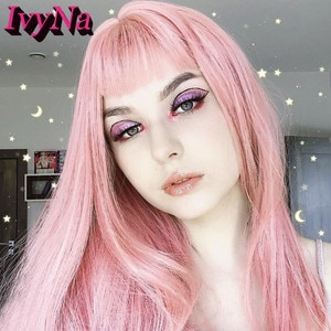 IvyNa Paltinum Blonde Mixed Pink Highlight Synthetic Wigs with Bangs Futura Heat Resistant Hair None Lace Wigs 4 Inch Lace Space