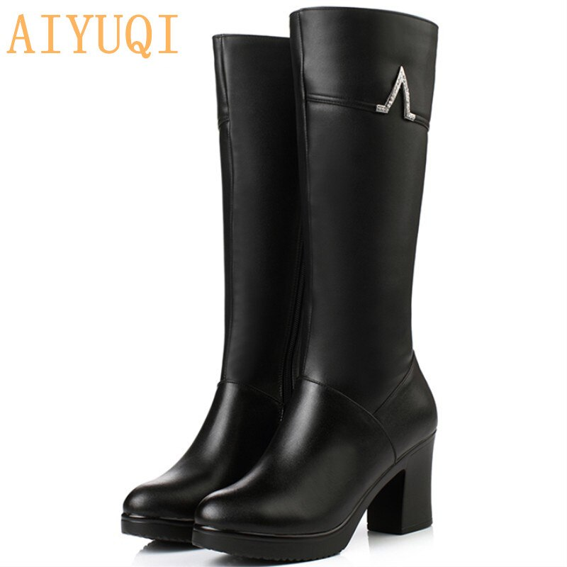 Aiyuqi novo inverno botas de couro genuíno sapatos femininos de salto alto meados de bezerro botas longas botas de neve quente senhora moda sapatos