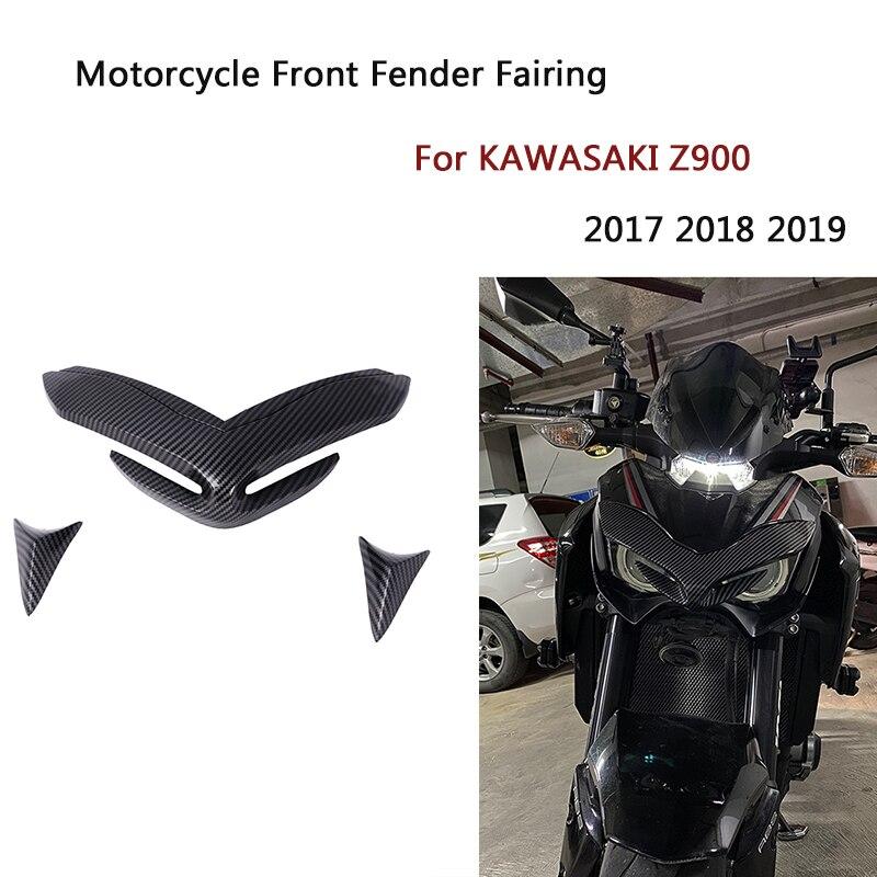غطاء واينجليتس هوائي أمامي للدراجات النارية KAWASAKI Z900 غطاء منقار مخروط تمديد كافل من الكربون 2017 - 2019