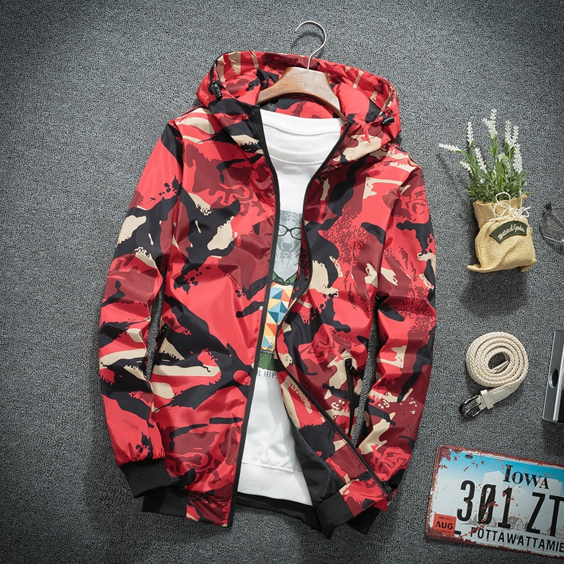 Hooded Jackets Men Casual Windbreaker Camouflage Zip Top Male Streetwear Hip Hop Sportswear Camo Army Coat Clothes men zip camo hooded jacket