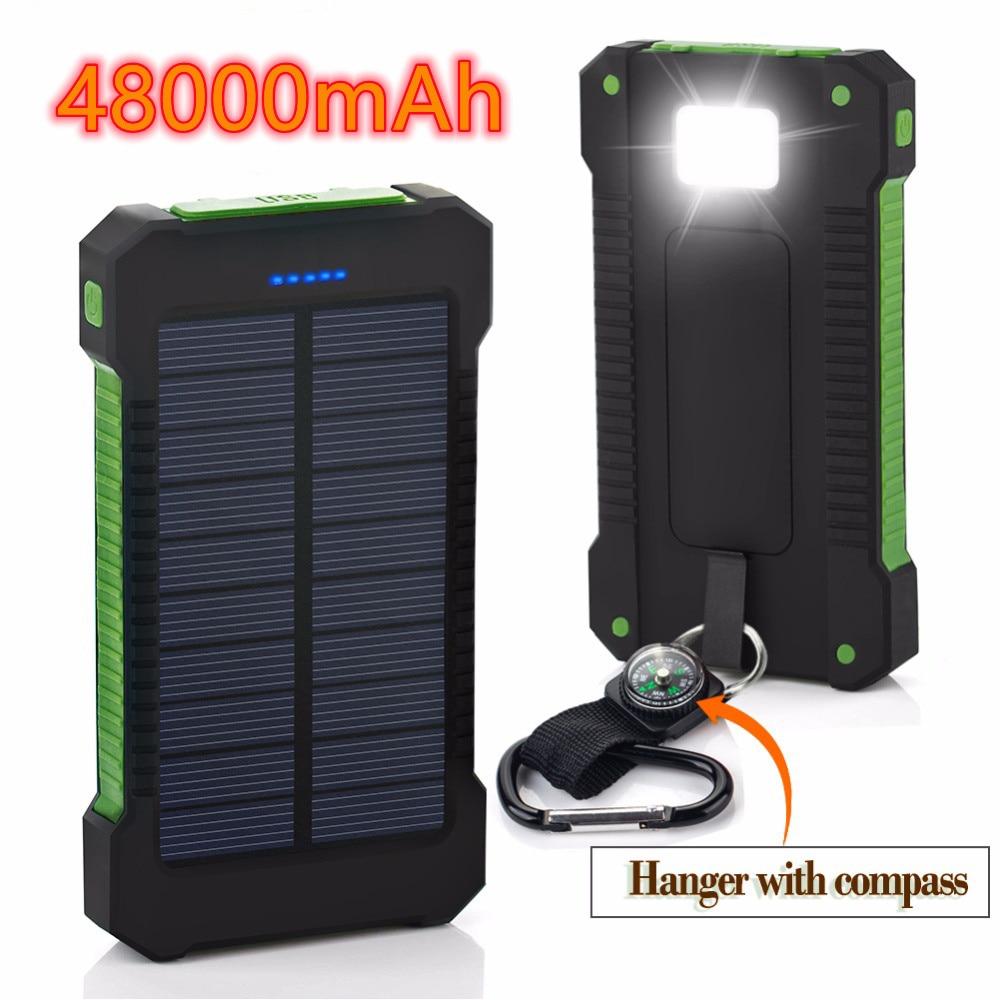 48000mAh Solar Power Bank For Xiaomi iPhone Samsung Powerbank Dual USB Solar Charger Portable External Battery Pack Power Bank