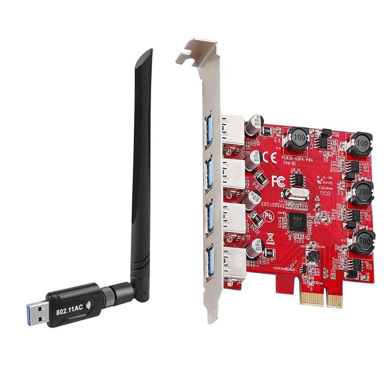 1 قطعة AC1200M USB واي فاي محول USB3.0 جهاز استقبال واي فاي و 1 قطعة PCI-E إلى USB 3.0 الناهض بطاقة PCIE إلى 4-Port USB محول بطاقة