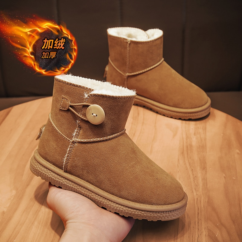 Children Boy Boot Kid Sneaker High Leather Boots for Boy Rubber Anti Slip Snow Boot Fashion Winter Shoes for Girl Boot Sneakers