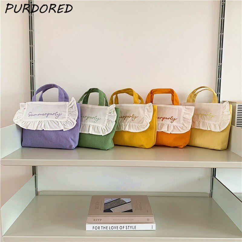 PURDORED 1 Pc Candy Color Mini Handbag for Women Korean Style Small Shopping Bag for Girl Fresh Reus