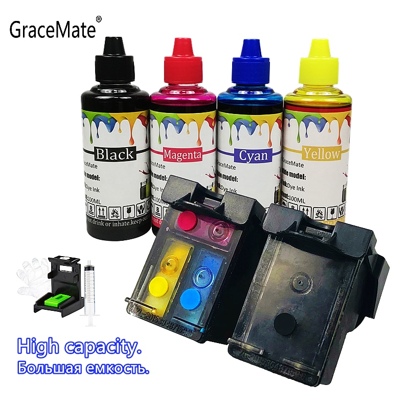 GraceMate إعادة الملء 652 خرطوشة حبر استبدال ل HP 652 XL ل HP Deskjet 1115 1118 2135 2136 2138 3635 3636 3835 4535
