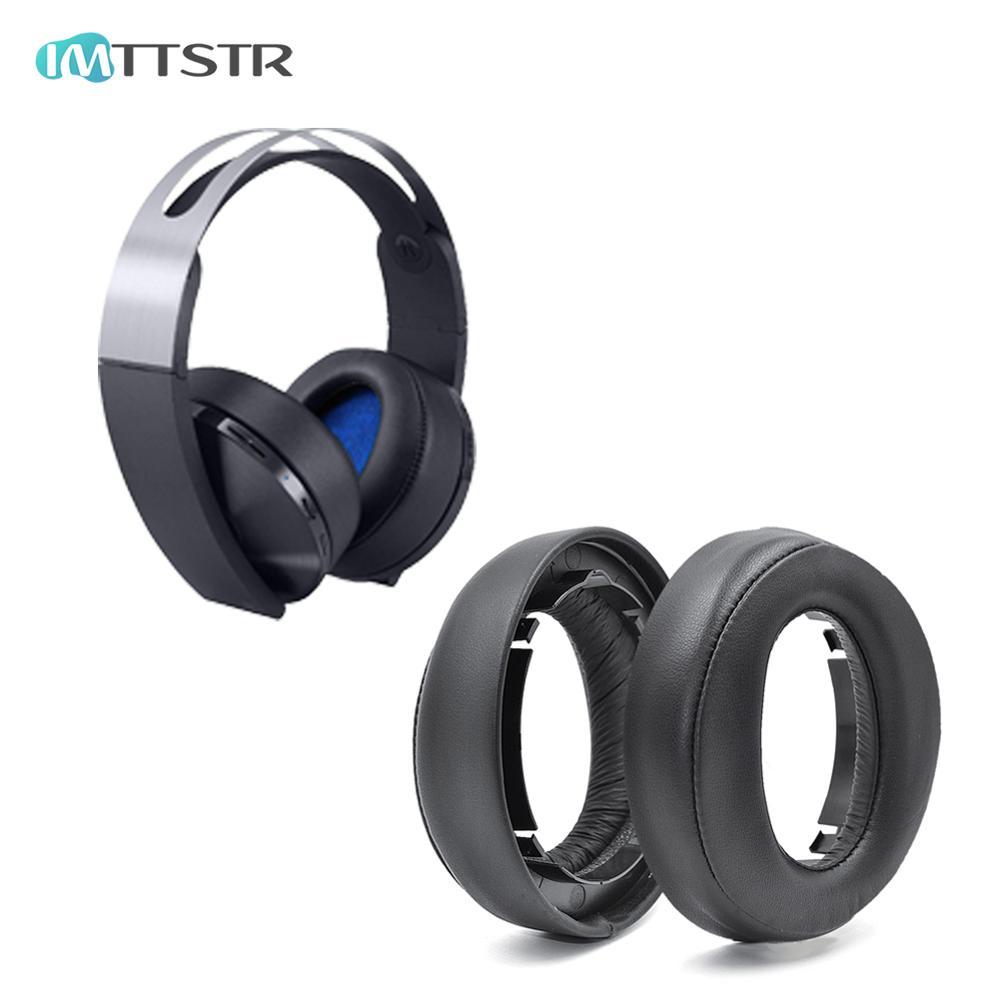 Auricular de cuero IMTTSTR para SONY PlayStation PS4 Platinum auriculares inalámbricos auriculares reemplazo de orejeras CECHYA-0090