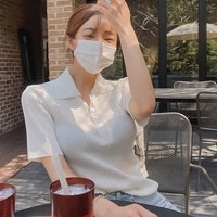 2021 summer new v neck t shirt womens short sleeve korean temperament simple slim t shirt top