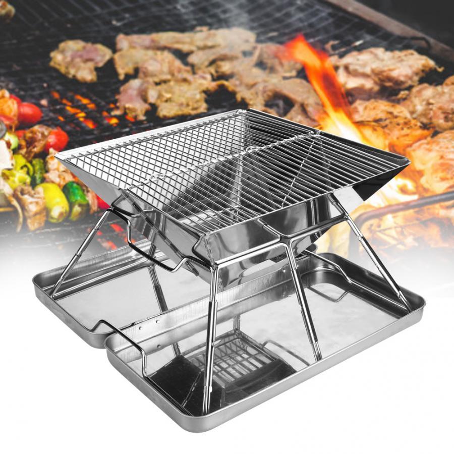 Складной гриль для барбекю из нержавеющей стали, портативный гриль для барбекю, аксессуары для 3-4 человек, инструмент для барбекю для пикник...