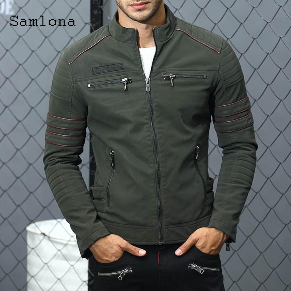Мужская осенняя куртка из искусственной кожи, мотоциклетная куртка на молнии, зимняя бархатная куртка, Мужская одежда с вышивкой, верхняя о...