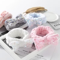 new bow elastic make up wash face hairband headpiece hair accessories for women head bands coral fleece soft elastic headbands