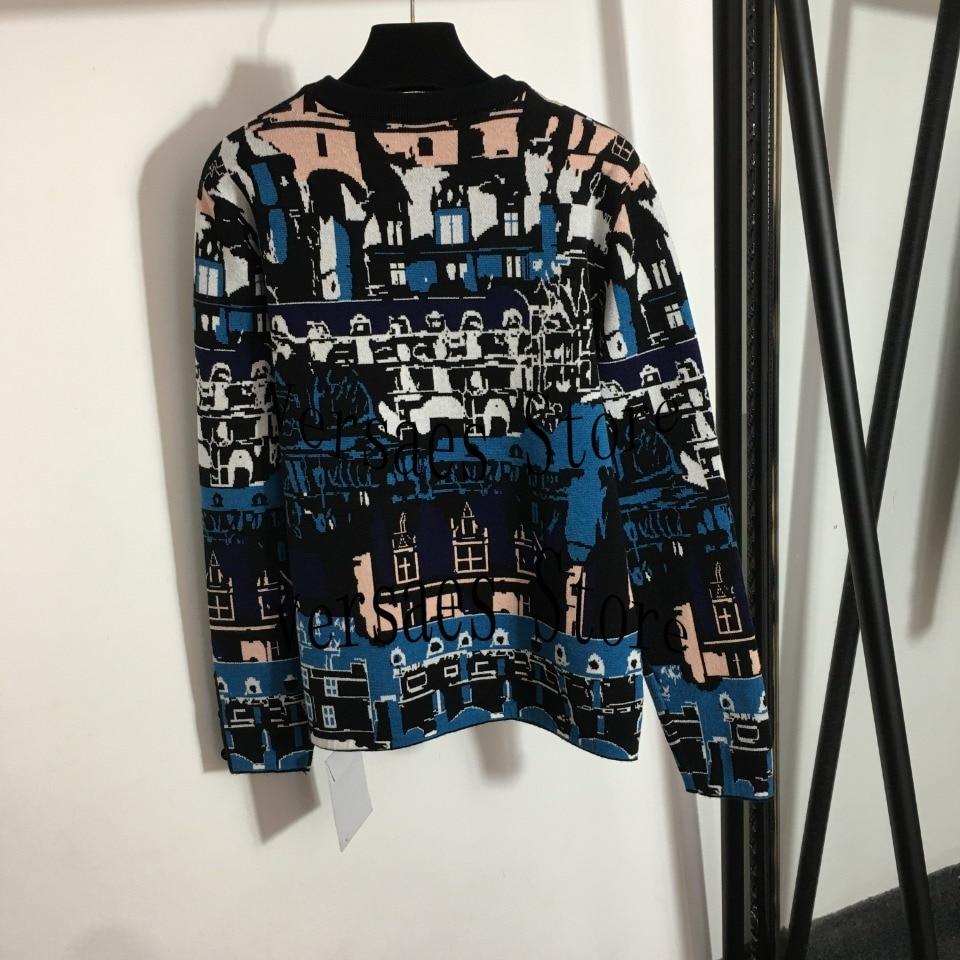 2021 luxury design Castle Vintage jacquard fashion women's long sleeve Pullover temperament versatile round neck knitted sweater enlarge