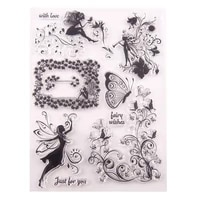 cartoon butterfly fairy transparent clear stamps silicone rubber clear stamps for scrapbookingdiy easter wedding album