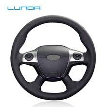 Кожаный прошитый вручную чехол рулевого колеса автомобиля LUNDA для Ford Focus 3 2012-2014 KUGA Escape 2013-2016