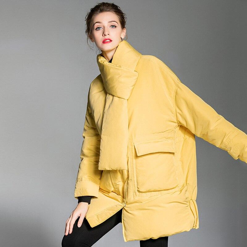 Women down coats luxury autumn winter warm fashion 90% white duck Jackets Female lady long puffer down jacket hooded yellow