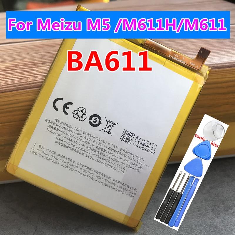 NEW Original 3070mAh BA611 Battery For Meizu M5 /M611H/M611 Series Mobile Phone +Tracking Number недорого