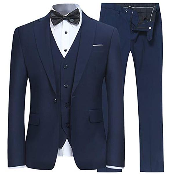 بدلة مصممة خصيصًا مكونة من 3 قطع بدلة ضيقة بزر واحد للرجال بدلة العريس بدلة سهرة (جاكيت + صدرية + بنطلون) بدلة رجالية من Homme Terno