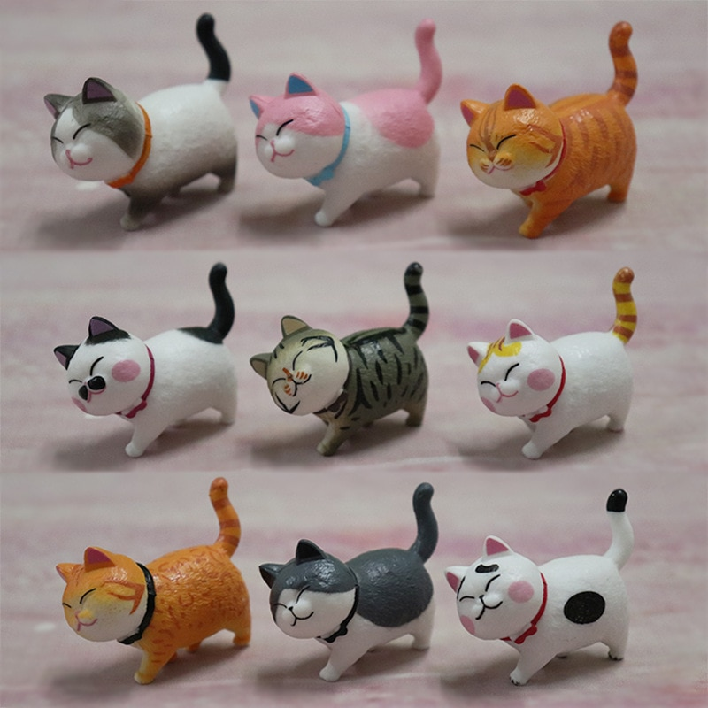 9pcs/set Car Cute Cat Doll Toy Interior Gift Decoration Cute Cat Dashboard Toy Car Decoration Car Shape  Car Accessories