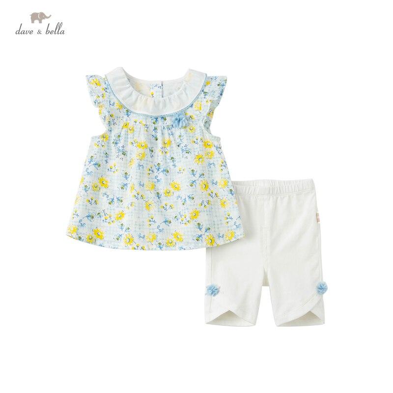 DBJ17868 ديف بيلا الصيف طفل الفتيات لطيف الأزهار ملابس منقوشة مجموعات الاطفال موضة أكمام مجموعات الأطفال 2 قطعة دعوى