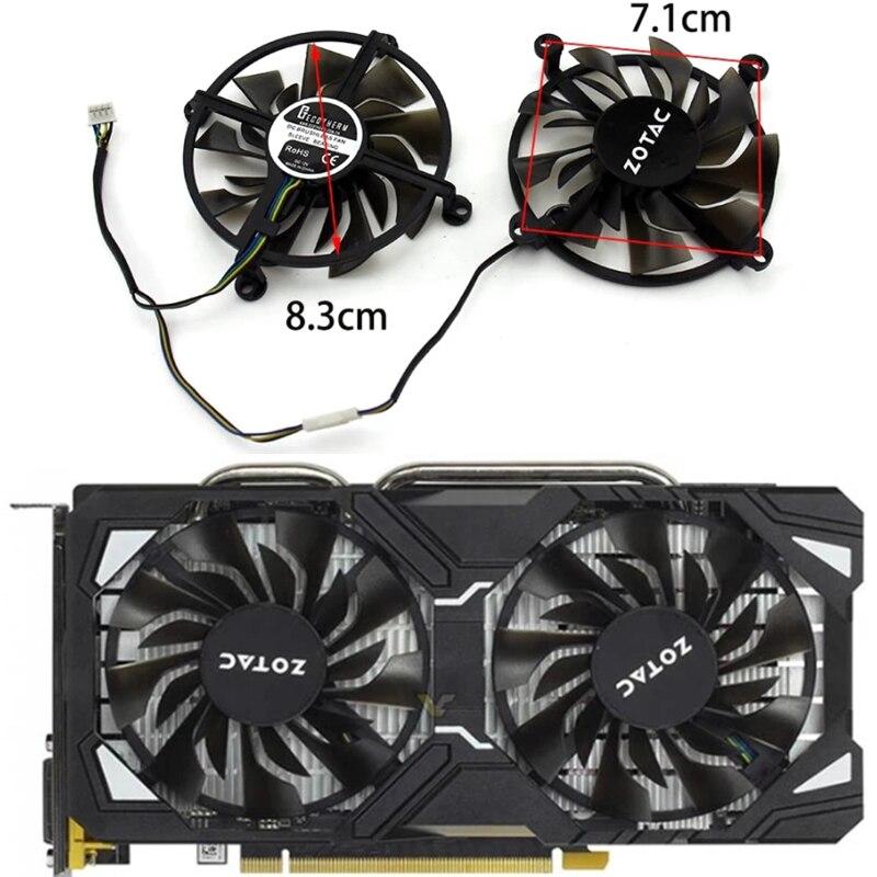 Новый Вентилятор Охлаждения видеокарты 2 шт. DC 12 В 4 контакта, подходит для Zotac GTX1060 GTX960 GTX950 Вентилятор Охлаждения видеокарты GTX 106