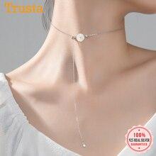 Collar de Margarita plateada esterlina 925 TrustDavis, collar de cadena de clavícula con flor de concha de verano dulce para mujer, joyería de boda DA963