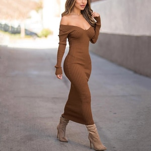 Long Dress Knitting Casual Women's Dresses Solid V Neck Midi Dress Long Sleeve Off The Shoulder Autumn Winter Women Long Dress