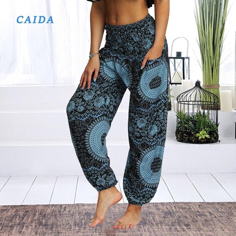 Женские свободные штаны для йоги CIADA, широкие брюки с цветочным принтом, длинные Стрейчевые штаны, свободные брюки-палаццо, спортивные штаны...
